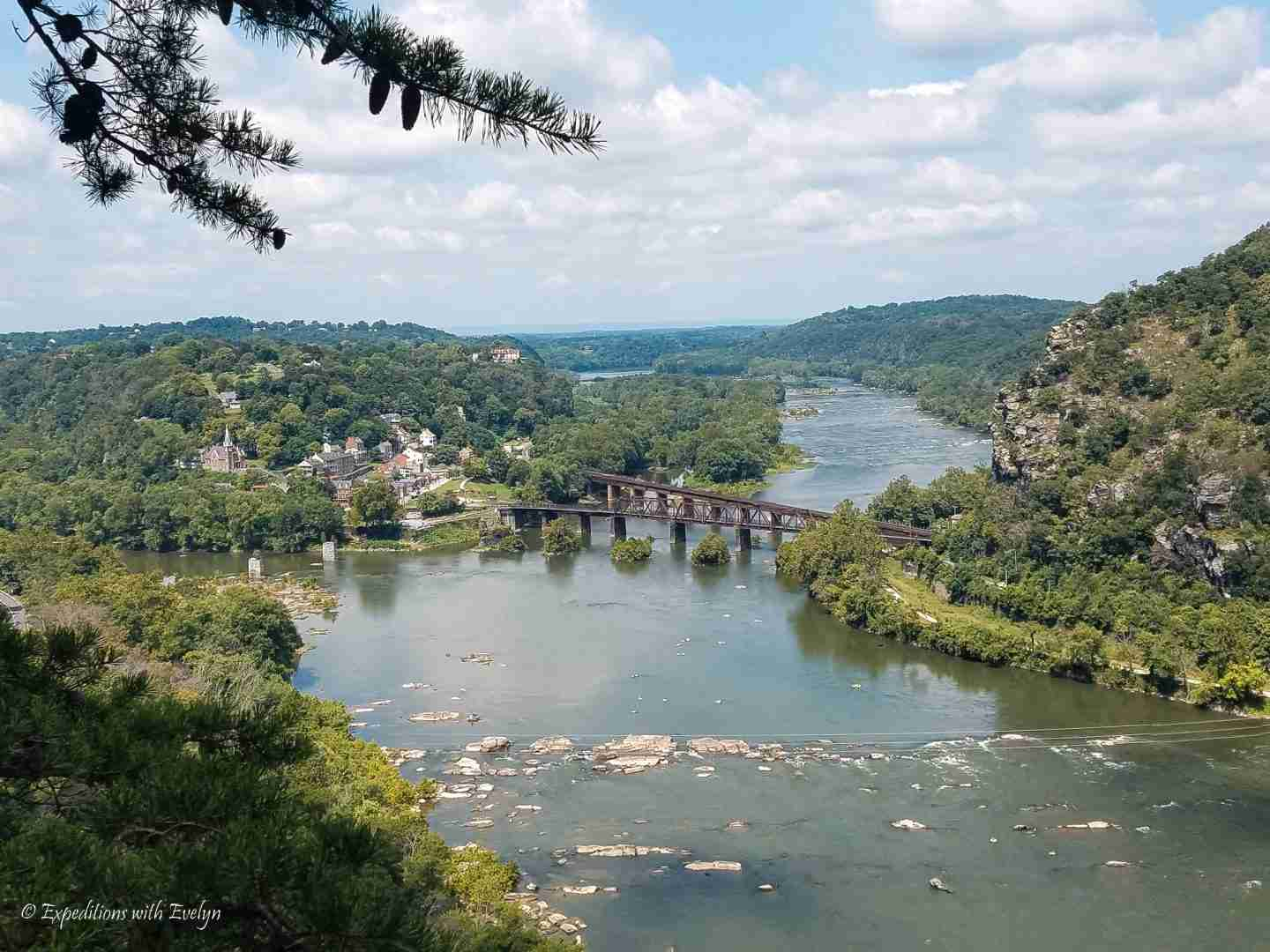 View of the town of Harpers Ferry and the confluence of the Shenandoah and Potomac Rivers.