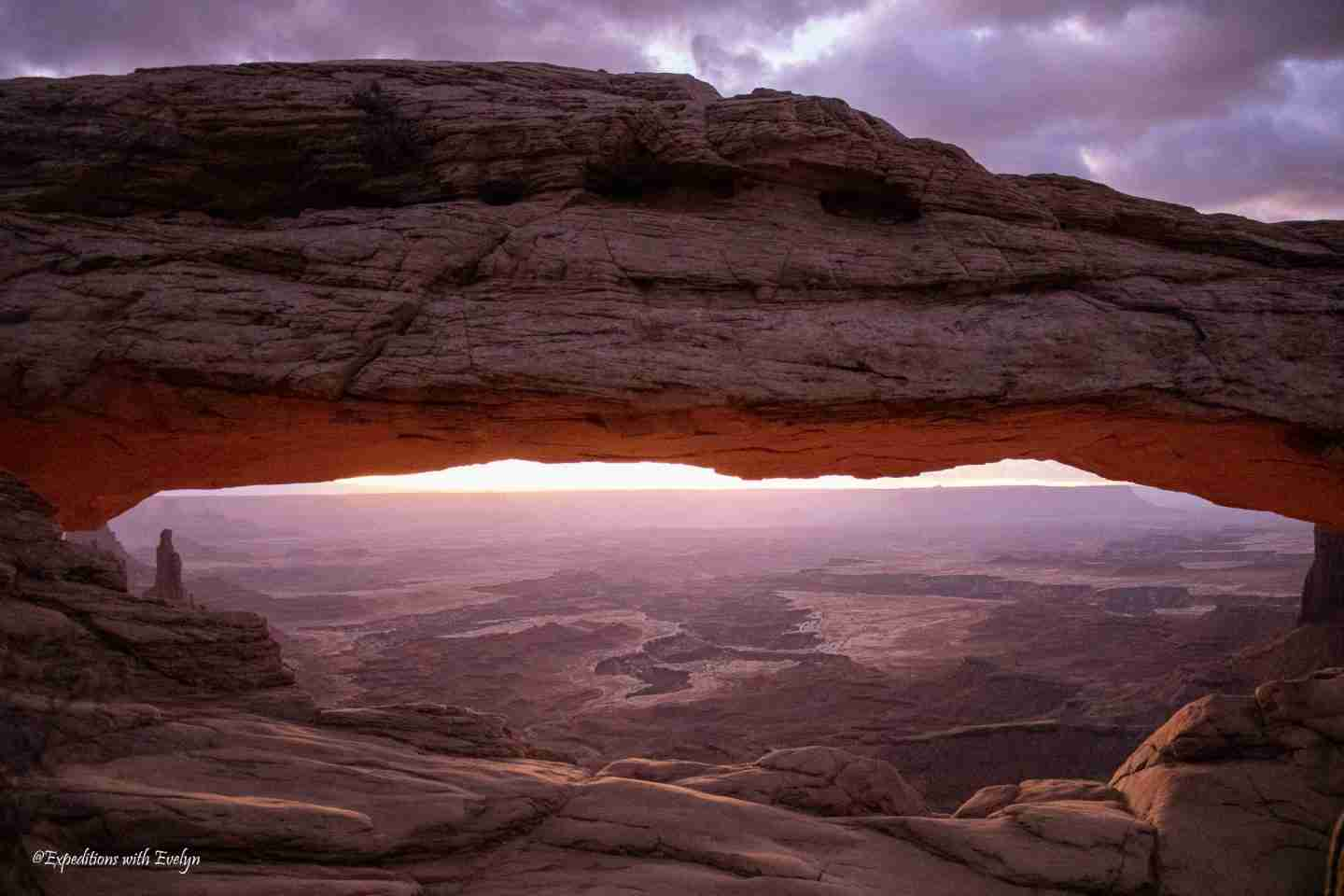2021 Goals bring new opportunities like this purple sunrise on the horizon at Mesa Arch in Canyonlands National Park